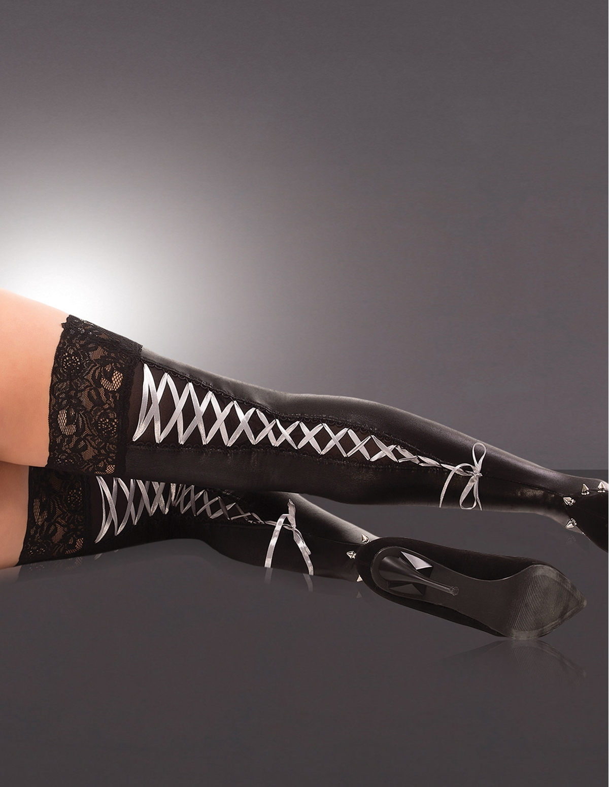 Lace Up Wet Look Stockings