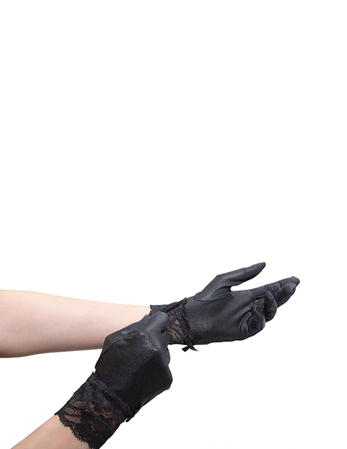Wet Look Short Gloves