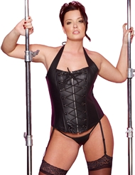 PLEATHER HALTER CORSET - PLUS