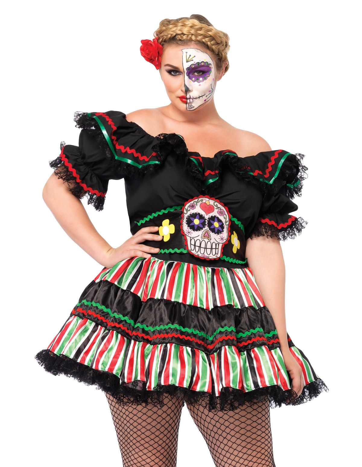 Day Of The Dead Doll Costume - Plus