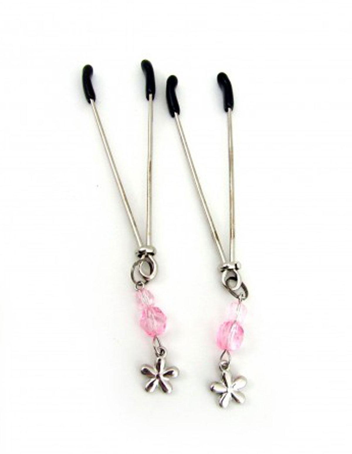 Nipple Clamps Tweezer W/Beads & Flower