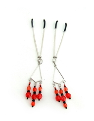 NIPPLE CLAMPS TWEEZER W/RED BEADS CHROME