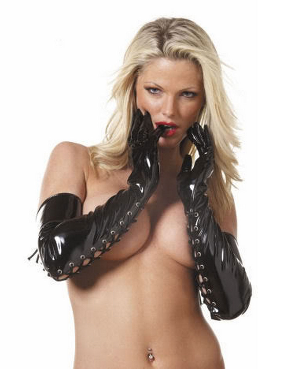 Long Vinyl Lace Up Gloves