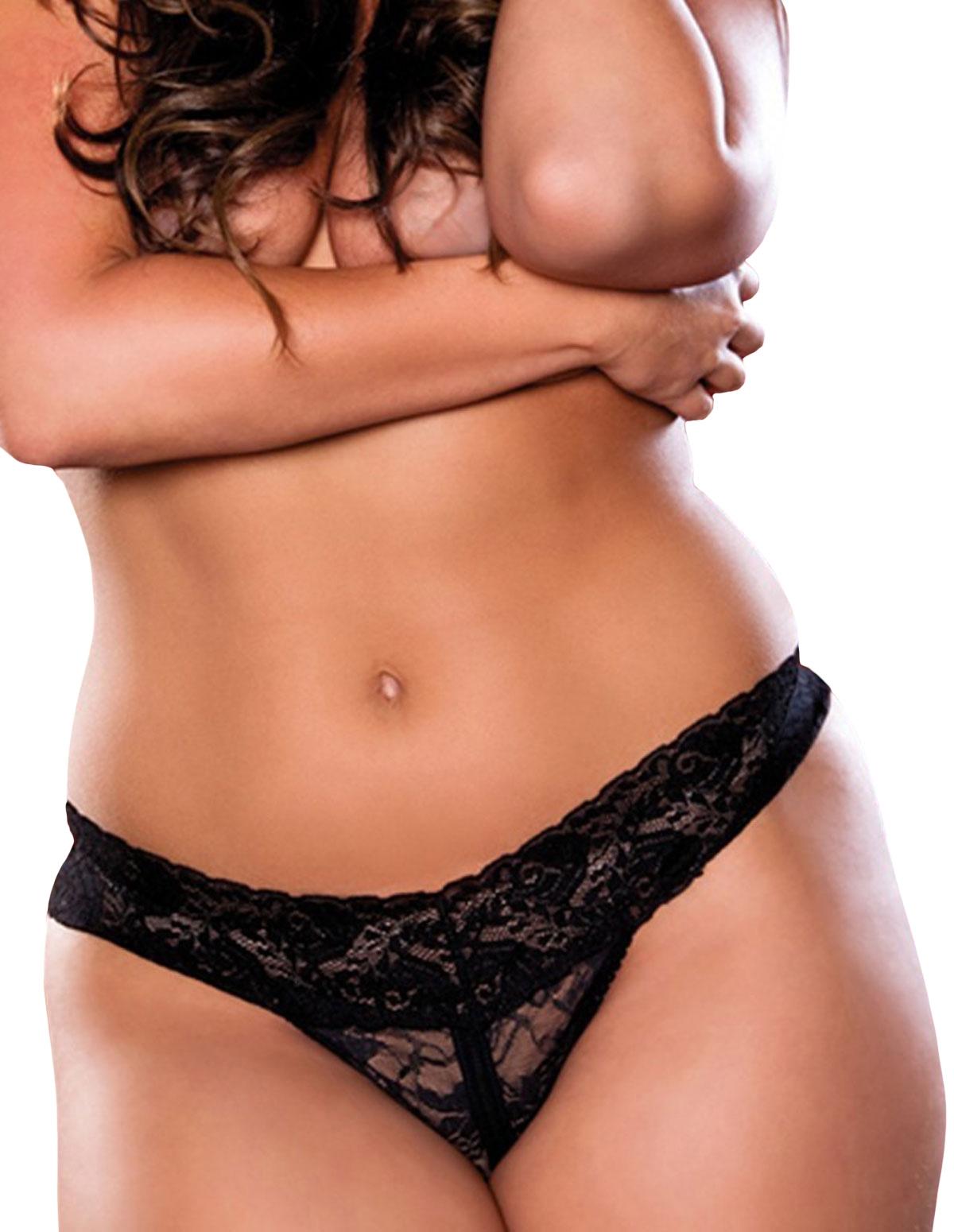 Jenna Lace Crotchless Thong - Plus
