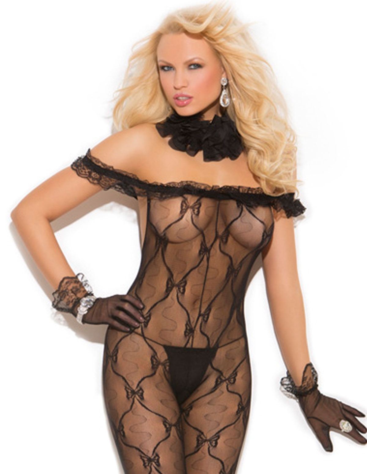 Lace Bodystocking With Ruffled Top