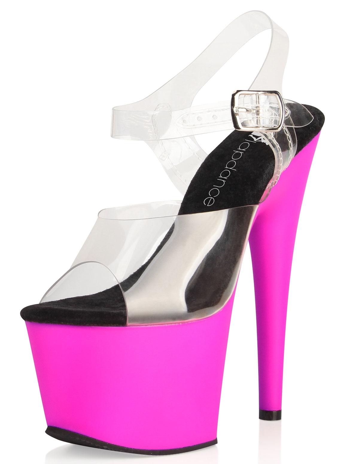 7 Inch Clear & Pink Platform Shoe