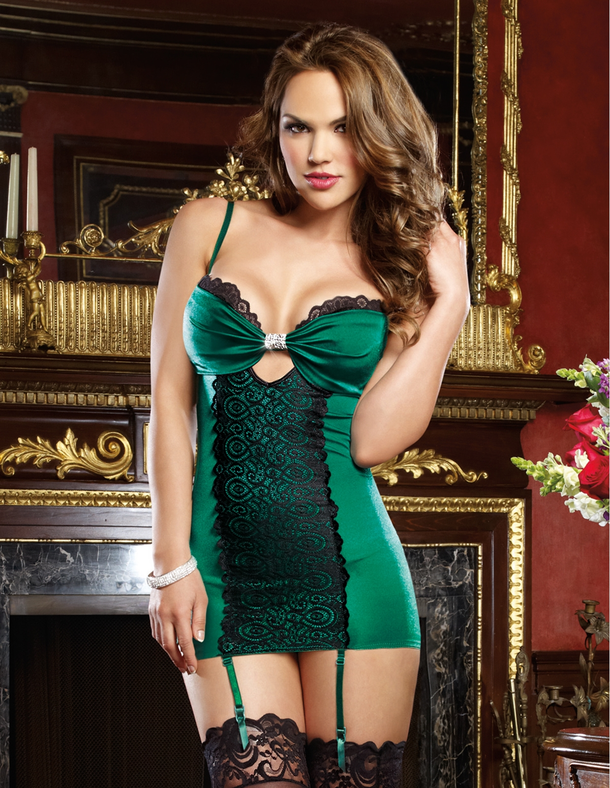 Emerald Envy Chemise With Garters