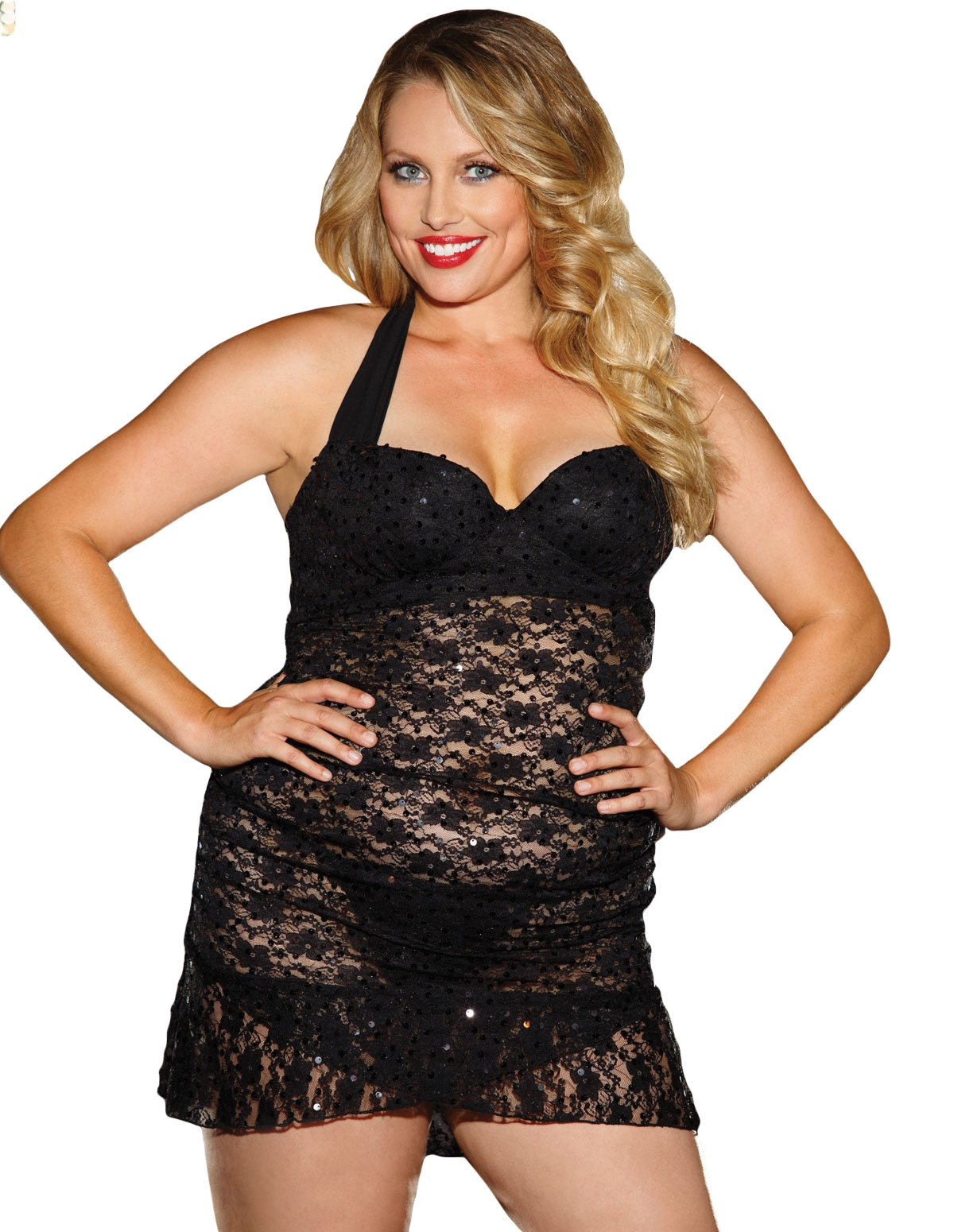 Lace Halter Chemise With Sequin Detail - Plus