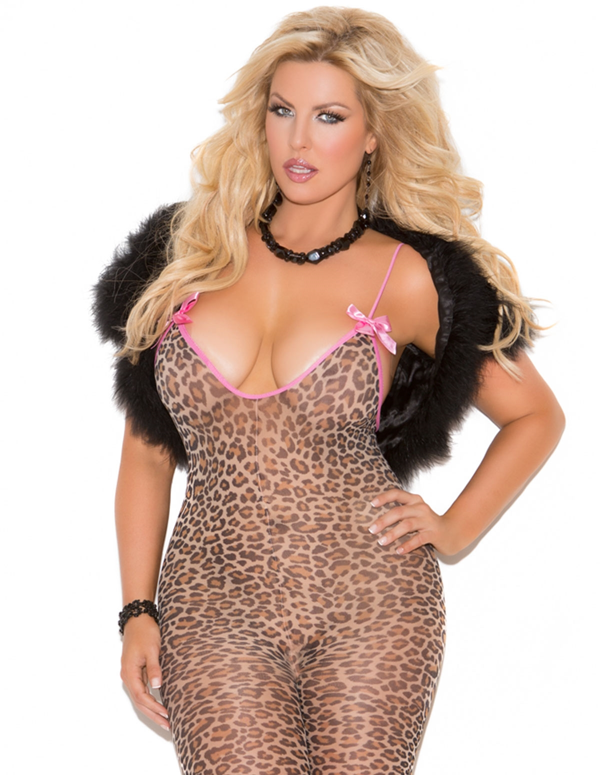 Leopard Bodystocking With Bows - Plus
