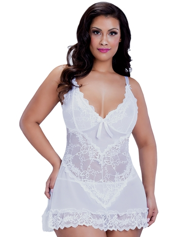 FLATTER ME SOFT CUP LACE BABYDOLL - PLUS
