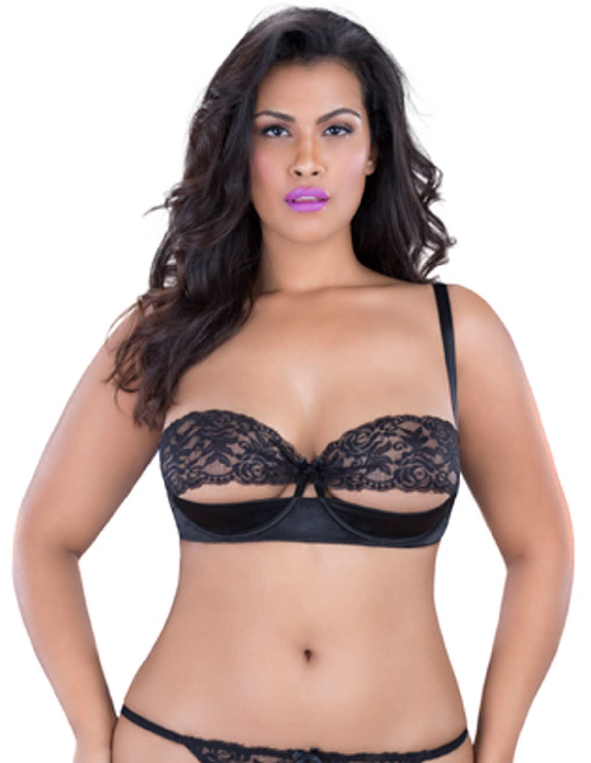 Lace Peek Shelf Bra - Plus