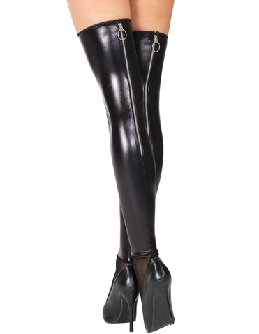 ZIPPER BACK WET LOOK THIGH HIGHS - REG & PLUS
