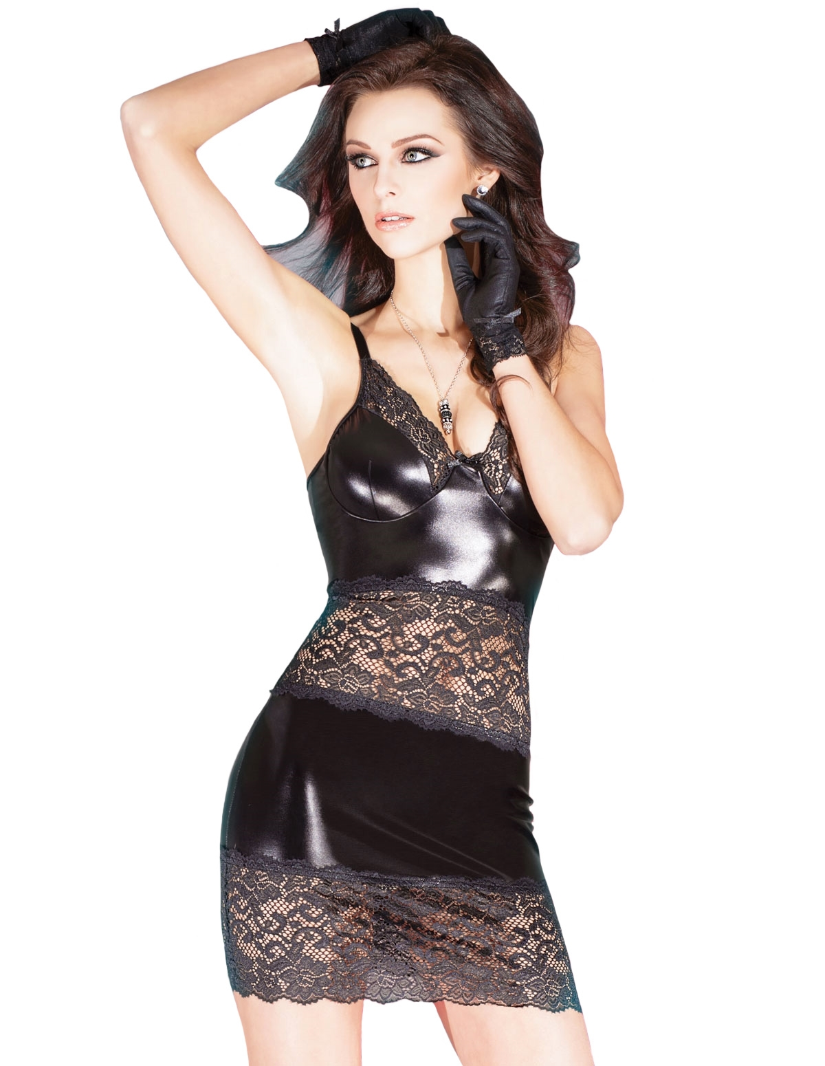 Lace Wet Look Dress
