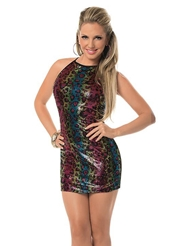 SEQUIN HALTER TIE DRESS