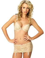SHIMMER & SASS BRA AND GARTER SKIRT SET