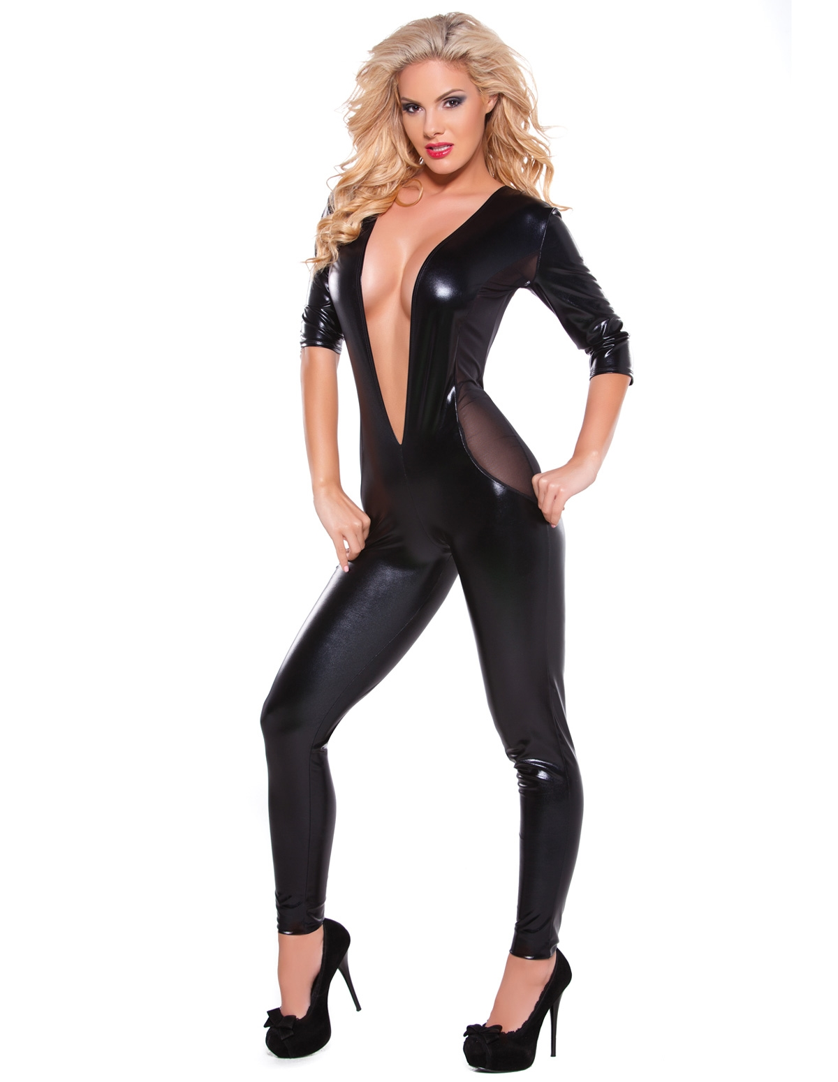 Kitten Wetlook & Mesh Catsuit