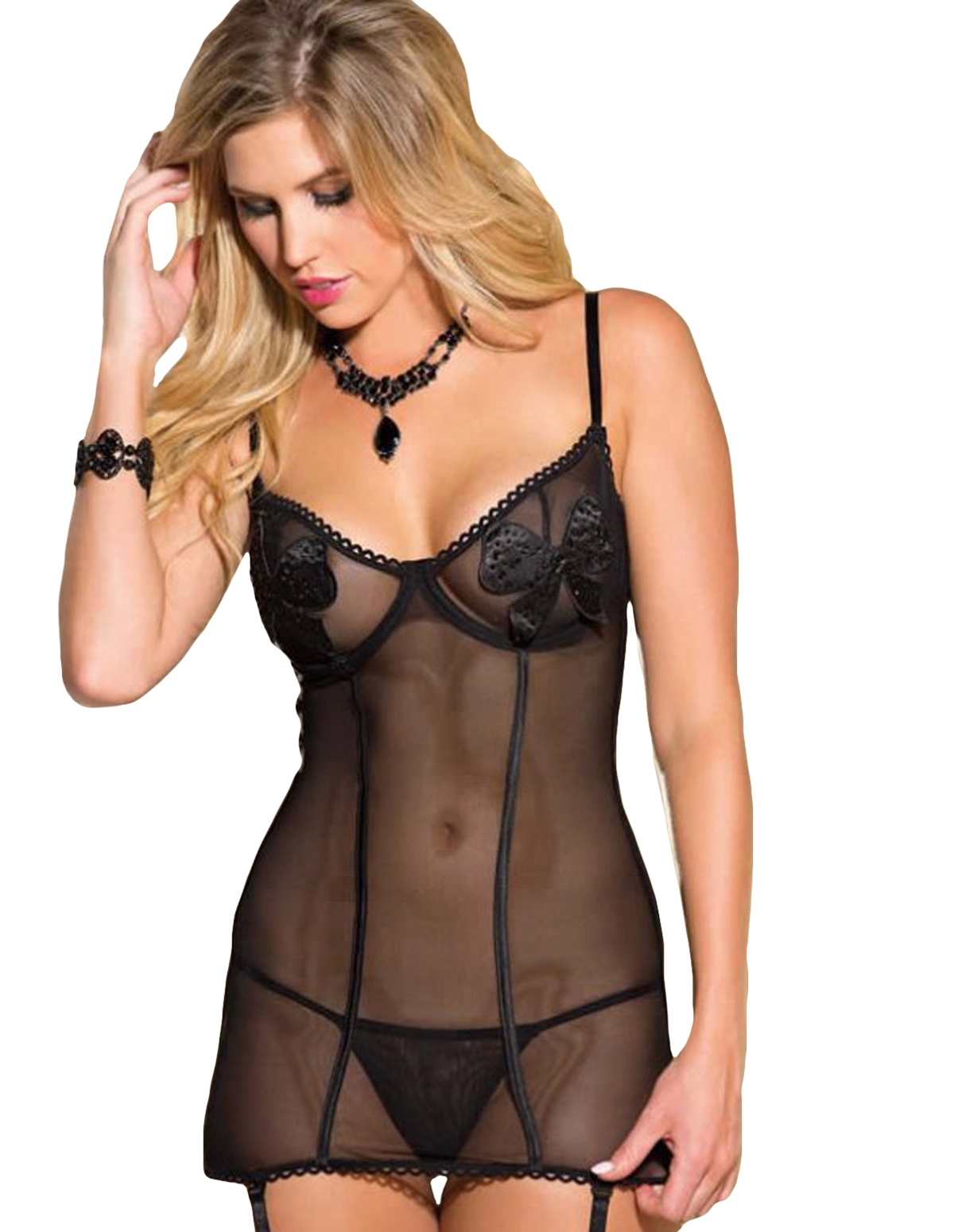 Applique Bow Chemise With Garters