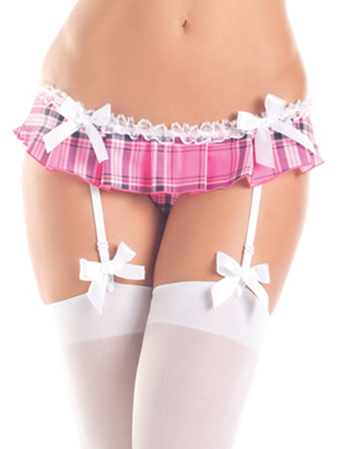 Plaid Crotchless Skirt With Garters