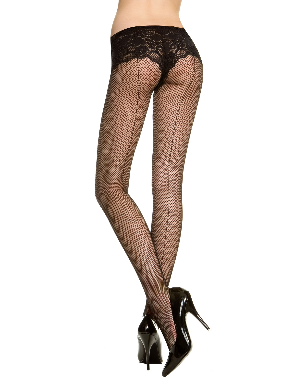 Fishnet Backseam Pantyhose - Plus