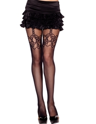 FAUX LACE SUSPENDER FISHNET PANTYHOSE