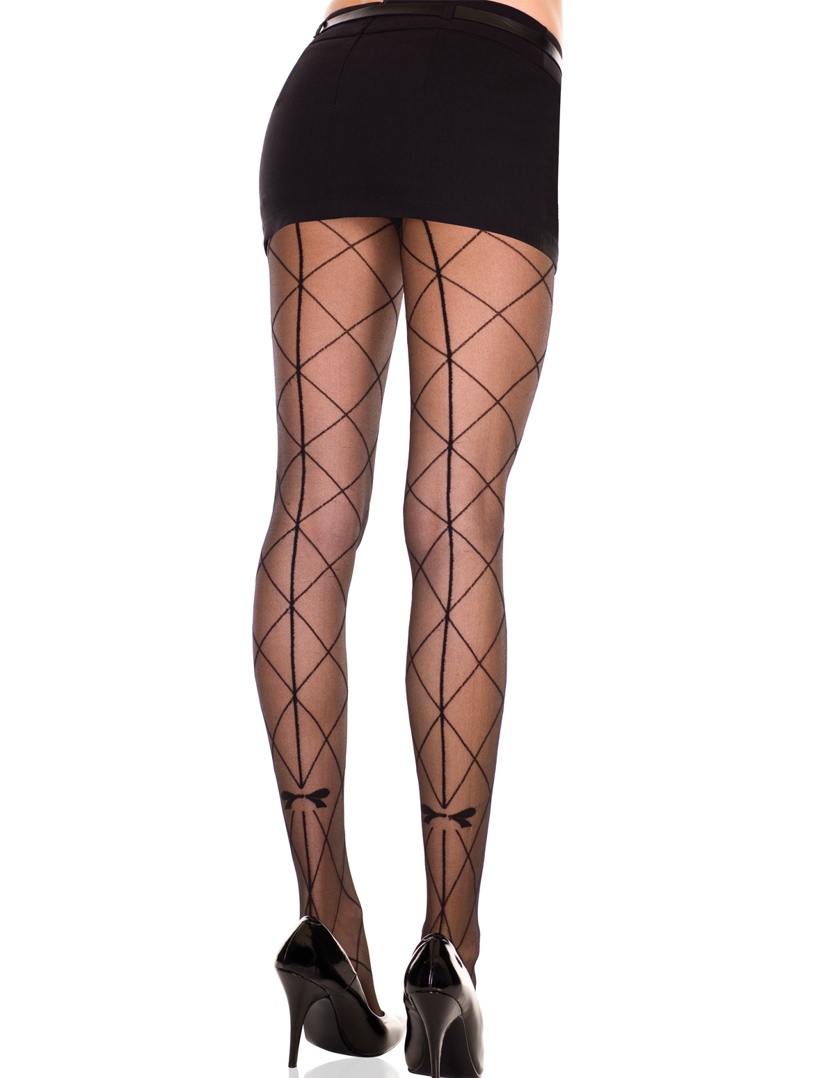 Faux Large Net Pantyhose With Bow Detail