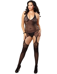 CROCHET NET HALTER BODYSTOCKING - PLUS
