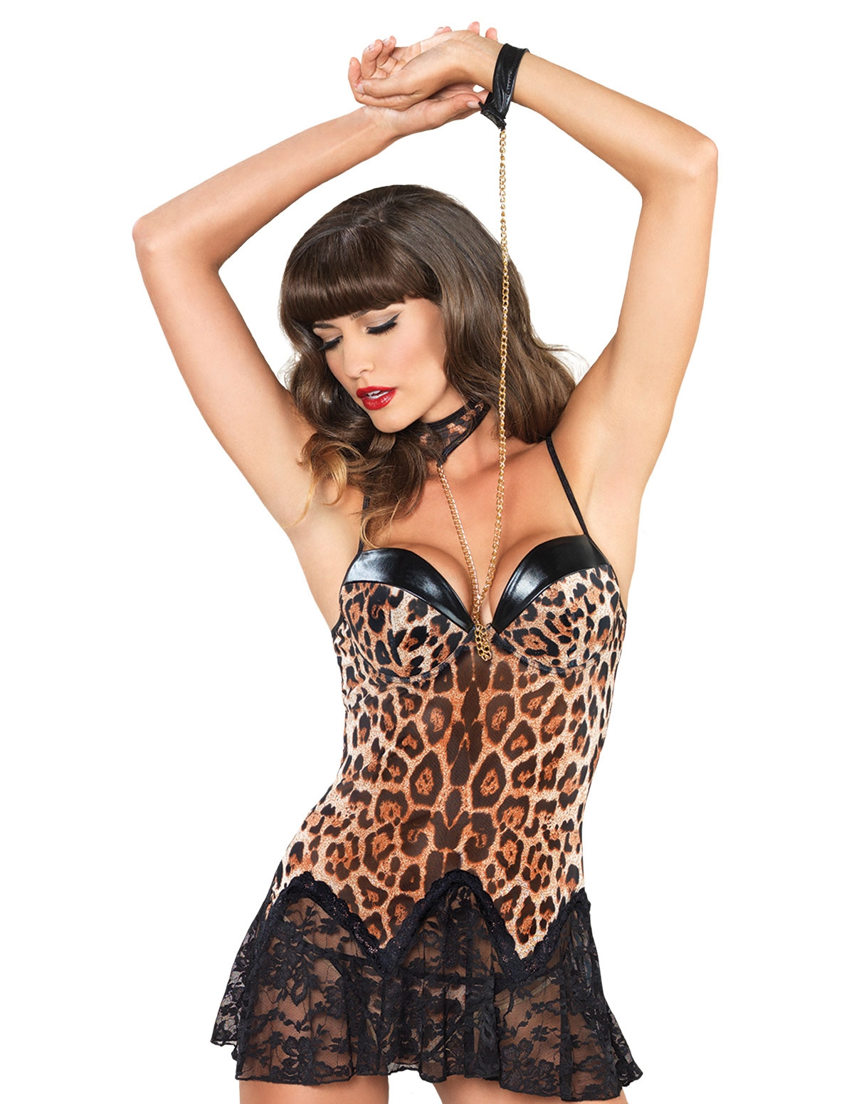 Vixen Leopard Chemise With Lace Trim