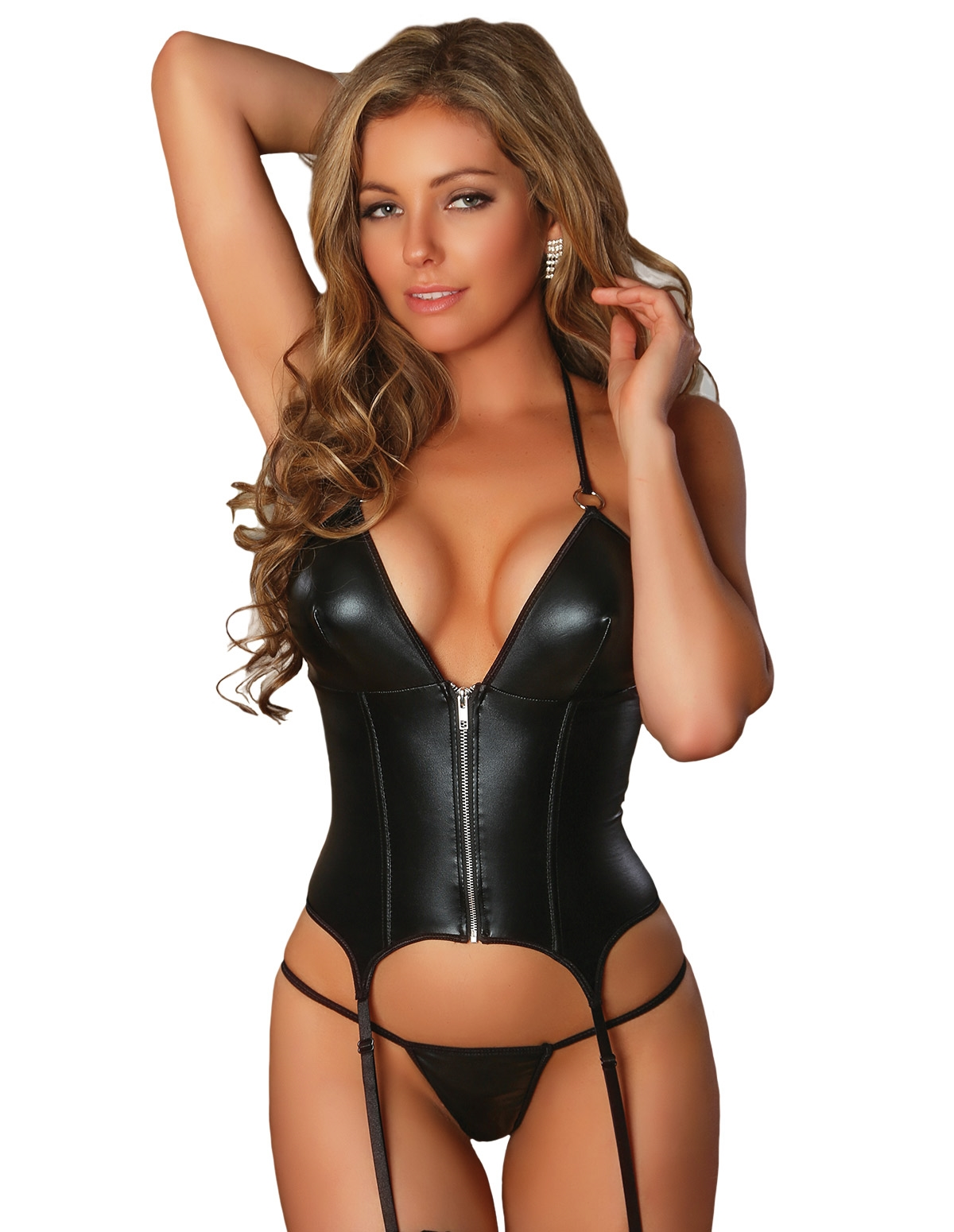 Zip-Up Merry Widow Corset & G-String