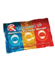 LIQUORED UP PECKER GUMMY RING 3PK