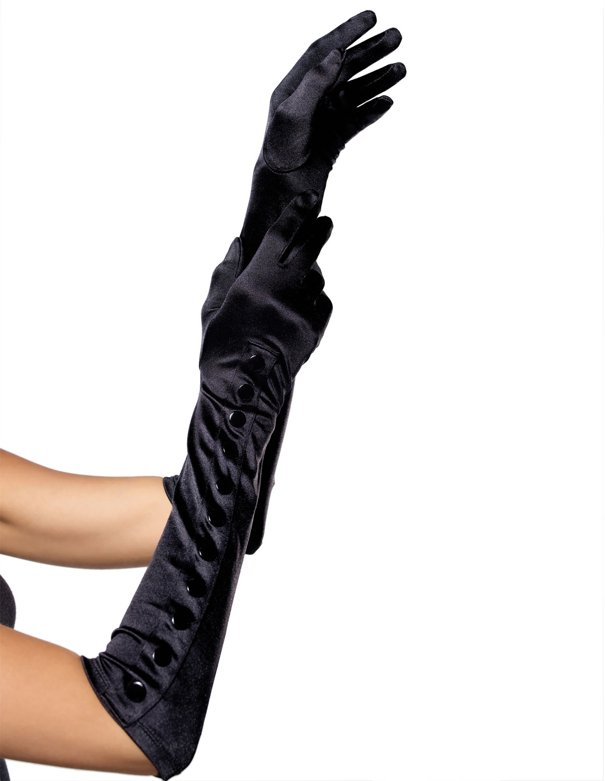 Satin Button Gloves