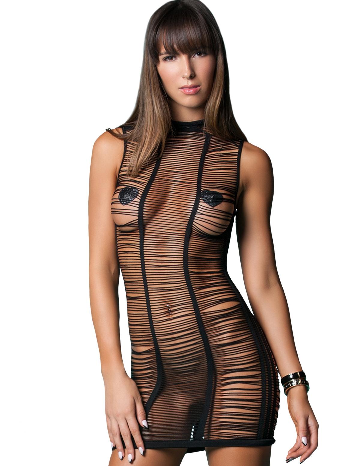 After Dark Shredded Mini Dress