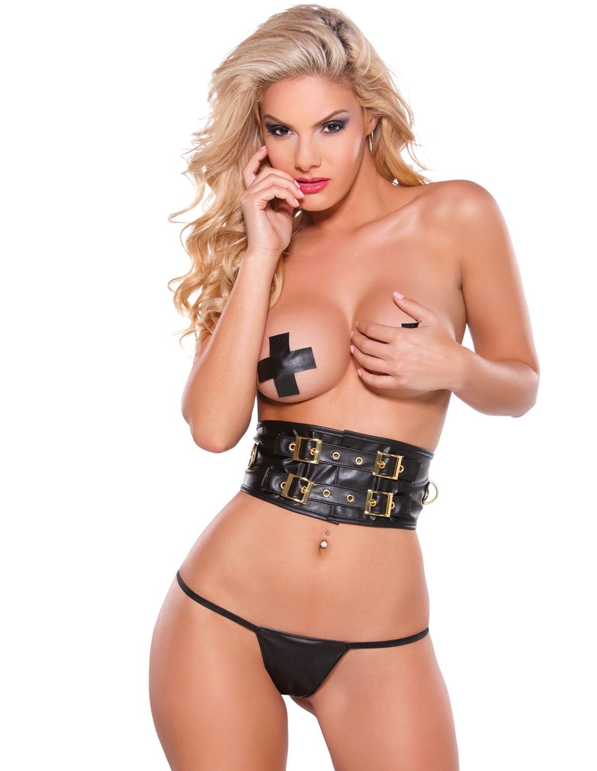 Gold Buckle Faux Leather Waist Cincher