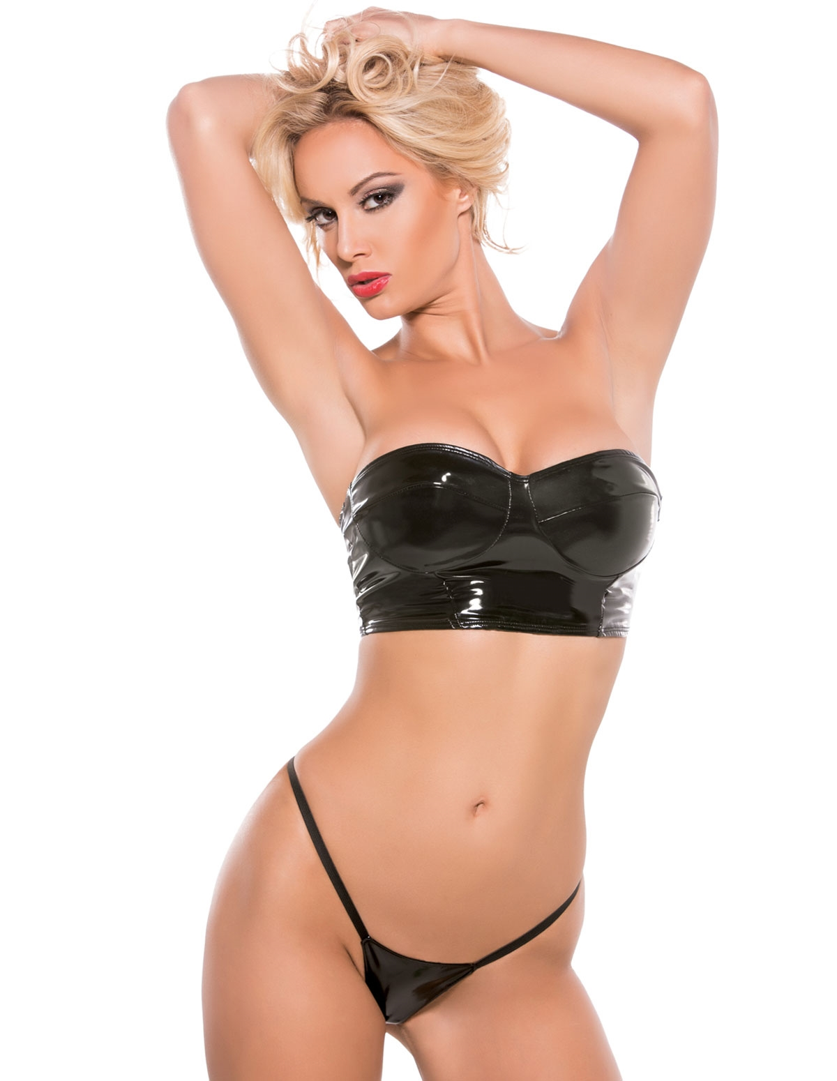 Strapless Stretch Vinyl Crop Top