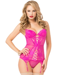 MAGENTA LOVE LACE-UP BUSTIER