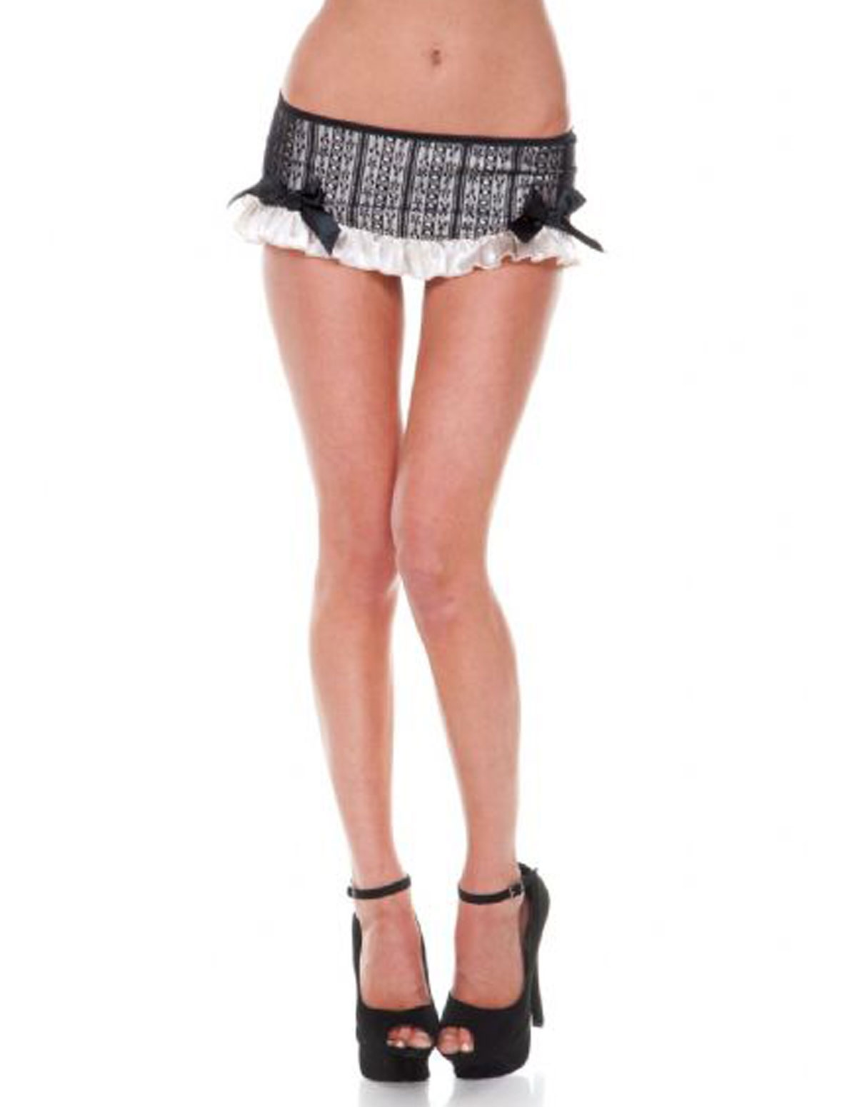 Lace Overlay Ruffle Skirt
