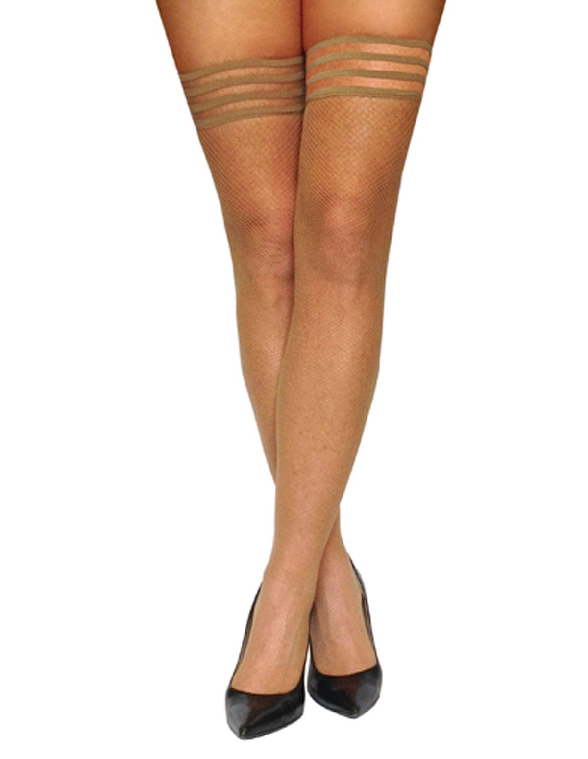 Samantha Classic Nude Fishnet Thigh Highs