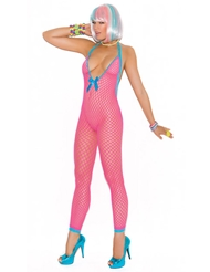 DEEP-V NEON CROCHET NET BODYSTOCKING