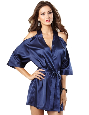 MIDNIGHT MAGIC SATIN CHARMEUSE KIMONO ROBE