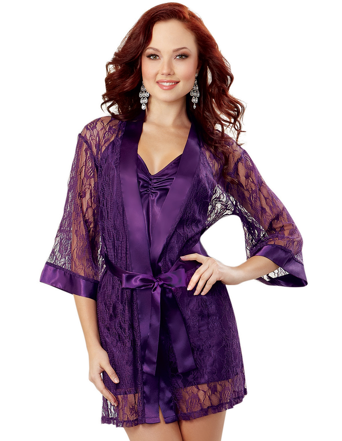 Lace Robe & Satin Chemise Set