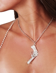 RHINESTONE GUN NECKLACE