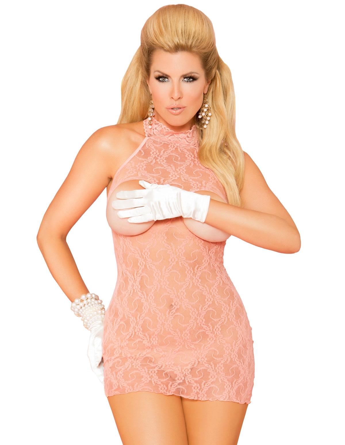 Cupless Lace Dress - Plus