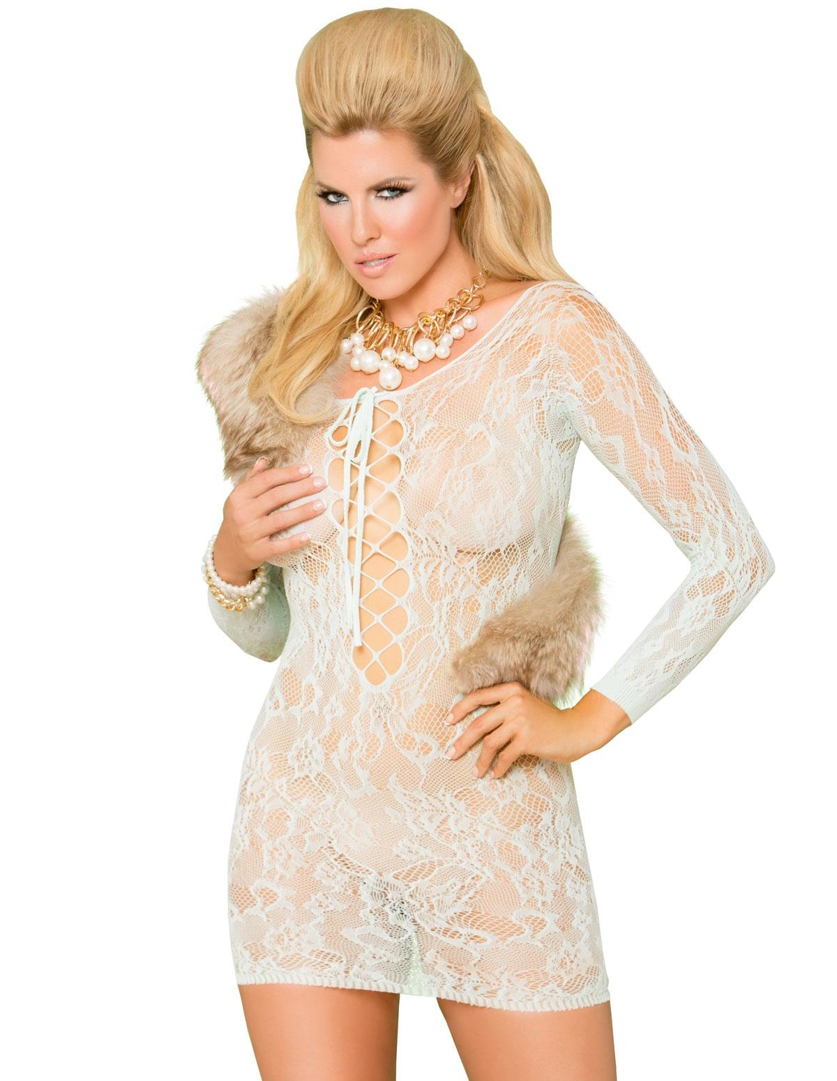 Lace-Up Front Mini Dress - Plus