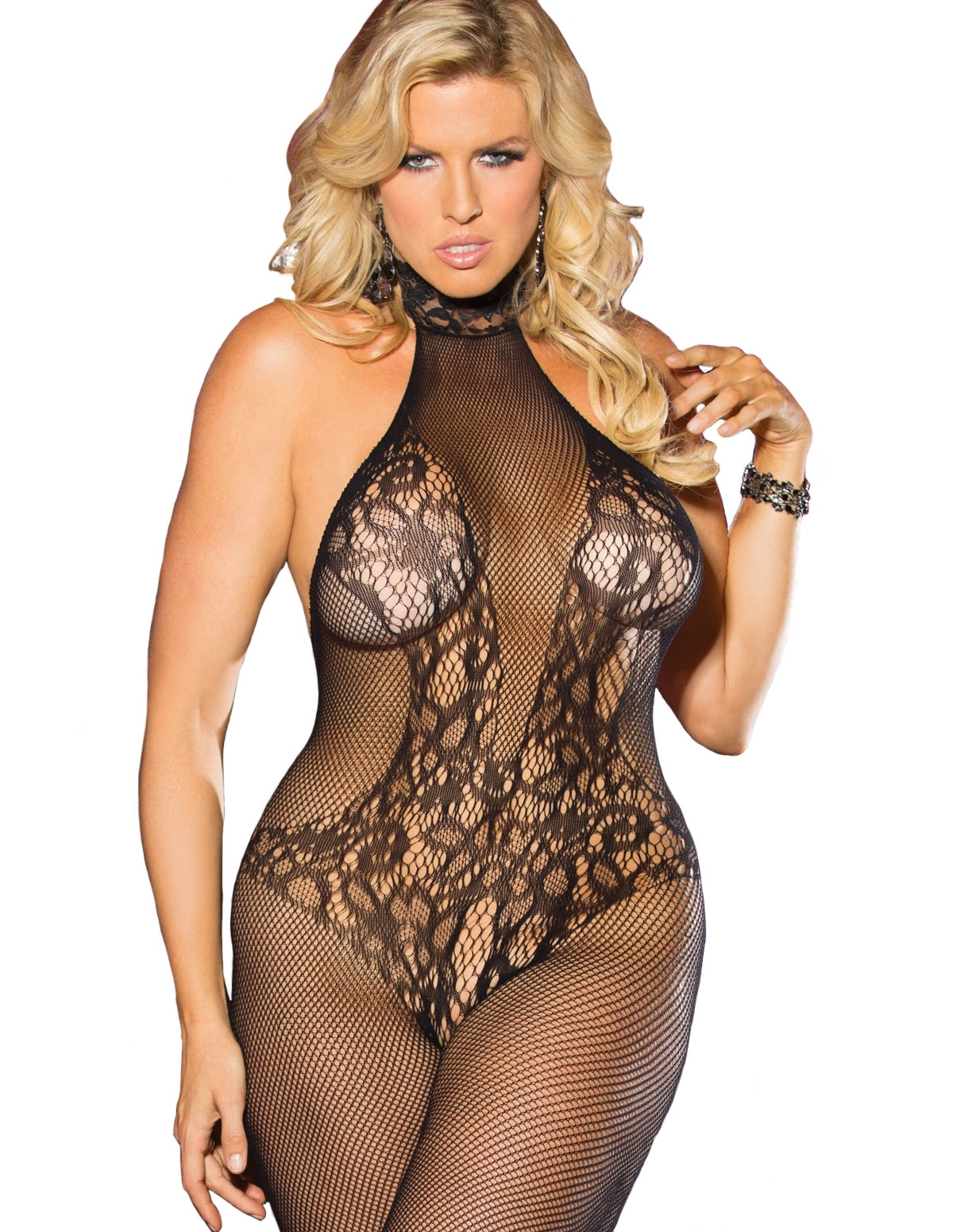 Halter Neck Fishnet Bodystocking - Plus