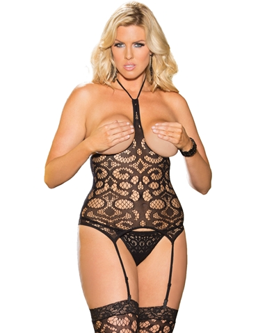 CROCHET OPEN BUST BUSTIER & STOCKINGS - PLUS
