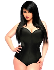 LAVISH SATIN CORSET ROMPER - PLUS