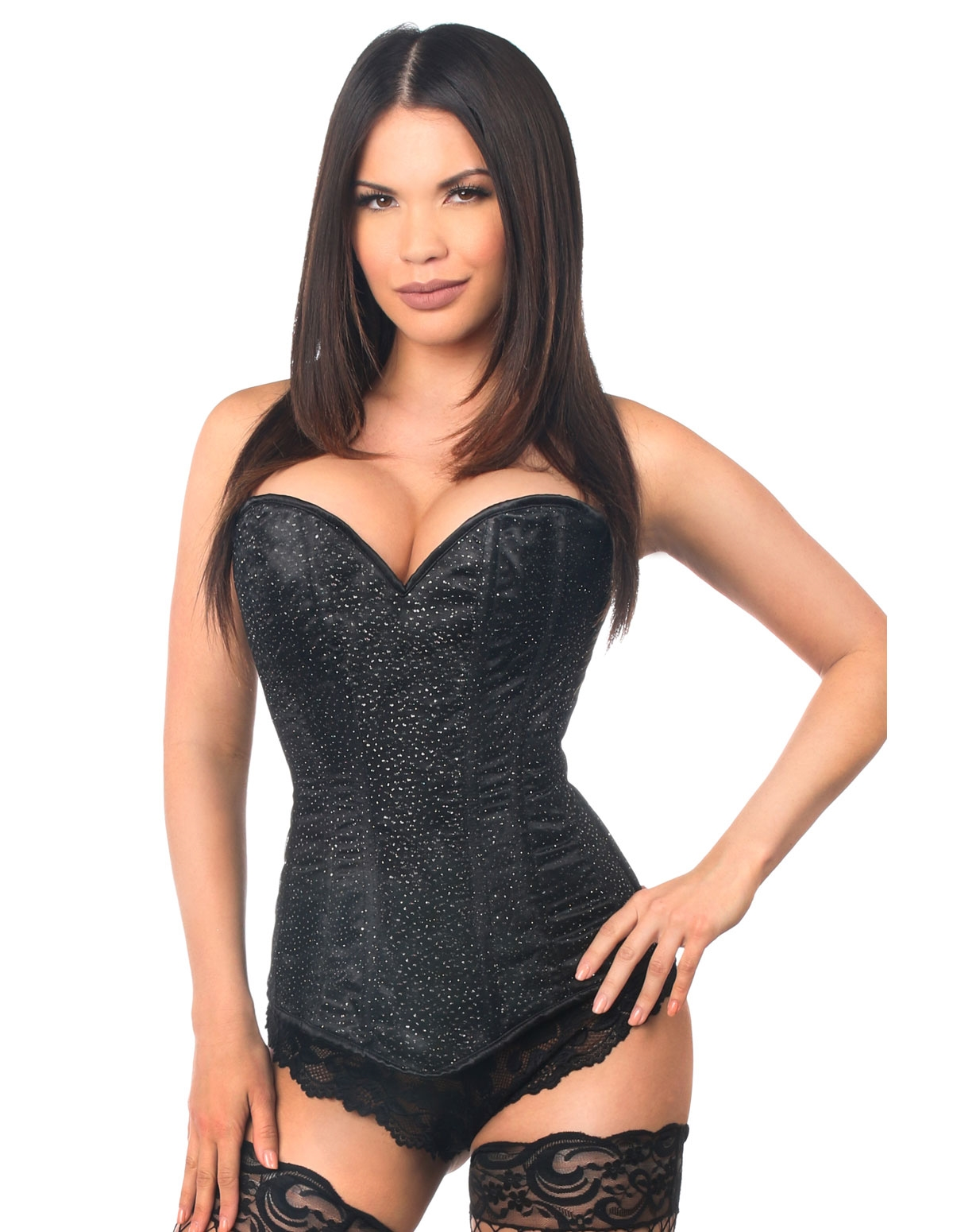 Lavish Glitter Side Zip Corset