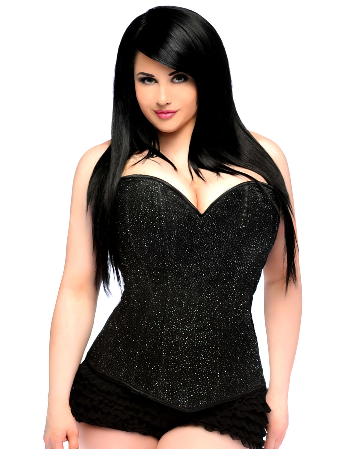 Lavish Glitter Side Zip Corset - Plus