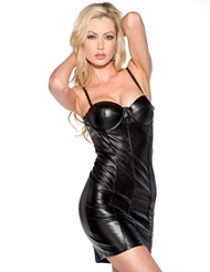 FAUX LEATHER DRESS WITH SWEETHEART NECKLINE