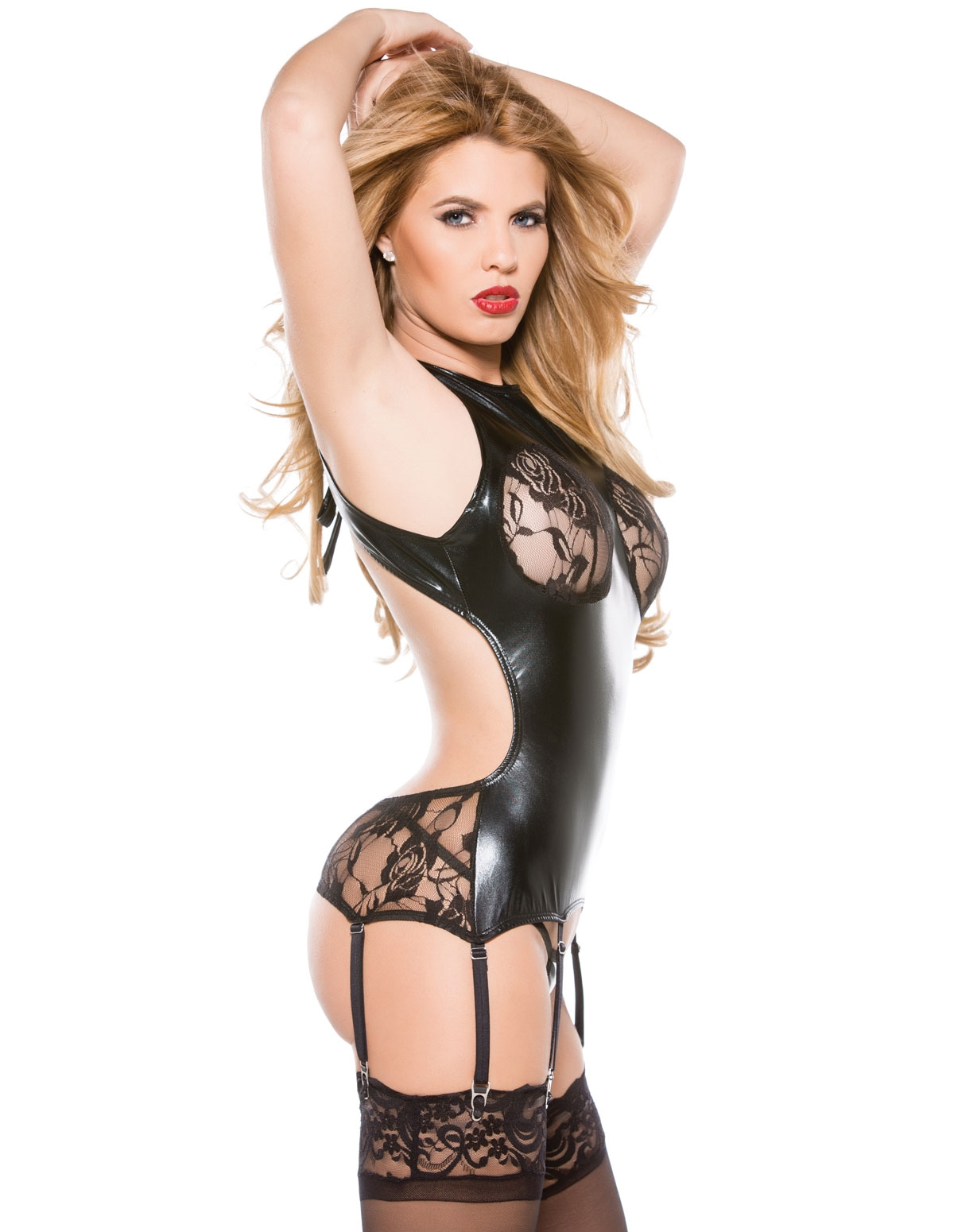 Lace And Wet Look Corset Top