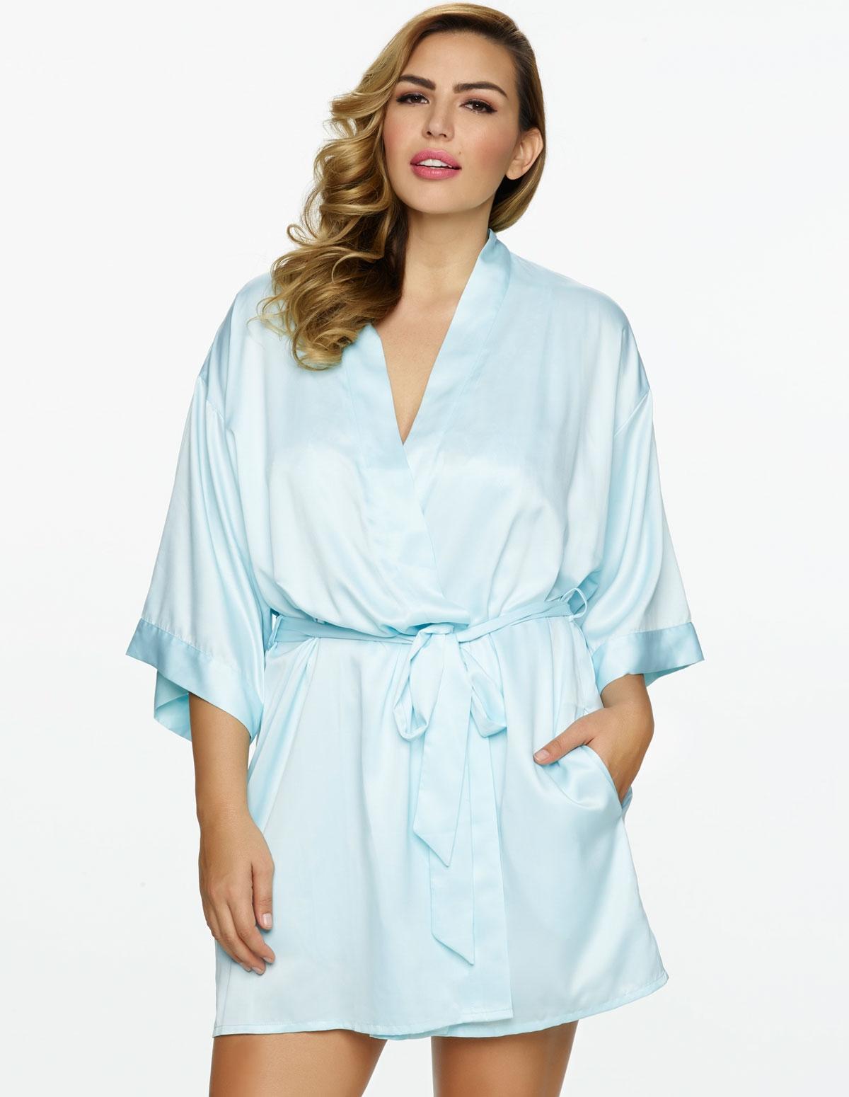 Satin Gem Kimono Robe - Plus
